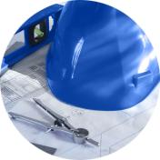 blue helmet on top of a technical drawing