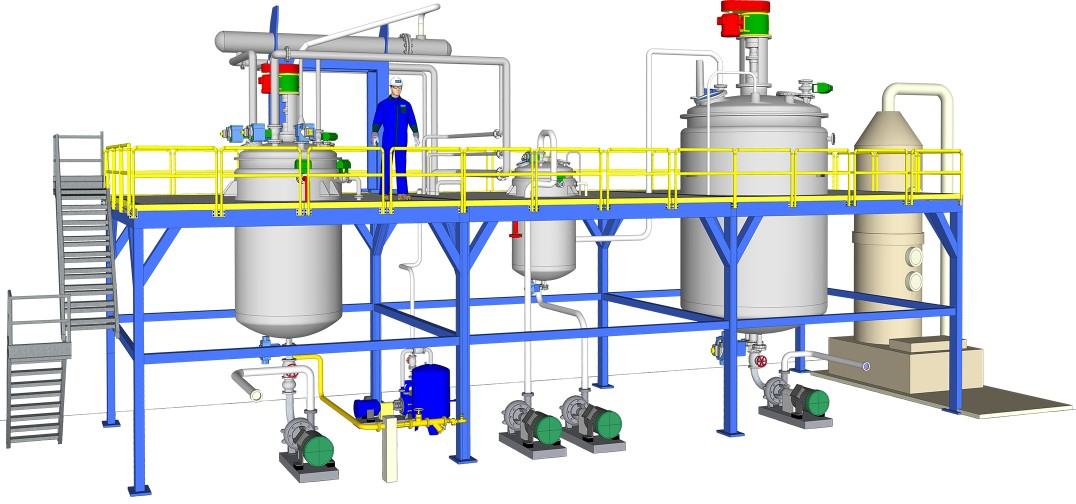 processing plant for detergents, softeners and emulsifiers